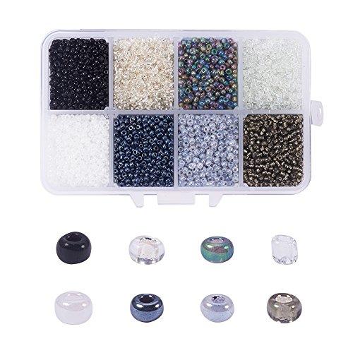 NBEADS 12500 Unidades de Vidrio Pequeño Espaciador Granos de Semillas Granos Flojos de Vidrio para Collar Pulsera Artesanía DIY Que Hace, 8 Colores Mezclados