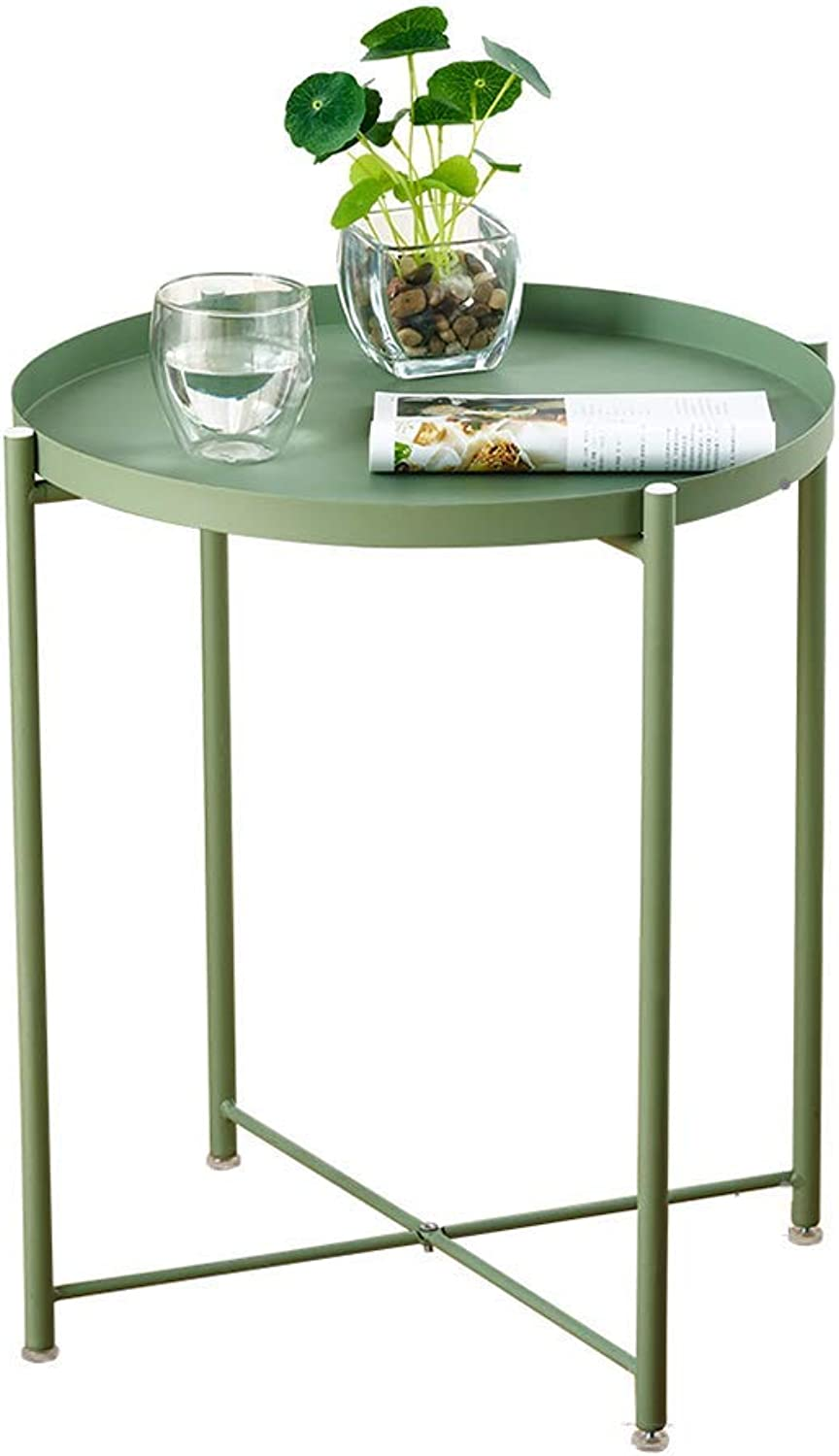 Round Iron Sofa Table,Side Table,Coffee Table,Snack Table for Living Room, Bedroom, Balcony