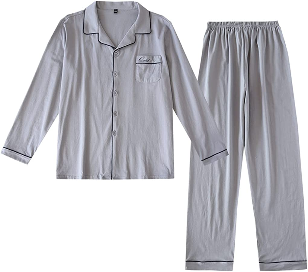 Shanghai Story Spring 2 Pieces Pajama Long Sleeve Pjs Sets Button Down Cotton Sleepwear for Men