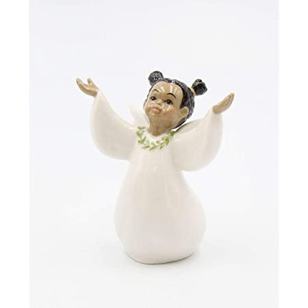 """Cosmos Gifts Fine Porcelain African American Inspirational Girl Angel Praise The Lord Figurine, 3 5/8"""" H"""