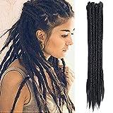Dsoar Dreadlock Extensions For Women/Men 20 Inch Synthetic Dreads 12 Strands Handmade Fashion Reggae Locs Hip-Hop Crochet Dreadlocks(1#,Black Color)