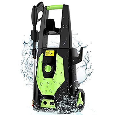 mrliance 3600PSI Electric Pressure Washer, 2.4GPM Electric Power Washer High Pressure Washer with Spray Gun, Brush, and 4 Quick-Connect Spray Tips (Green)