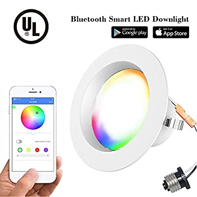 Smart Bulb 13W Color Changing Light Bulb Bluetooth Bright LED Flood Light, 80 Watt Equivalent BR30 Dimmable Wireless Daylight Multicolor Smartphone Controlled 2700K-6500K 1100L