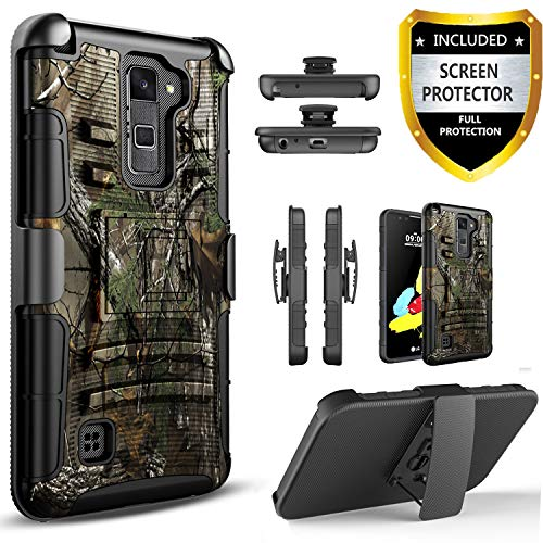 LG Stylo 2 Case, LG Stylo 2 Plus Case, with [Premium Screen Protector Included] Built-in Kickstand Hybird Shockproof Phone Cover with Belt Clip HolsterFor LG Stylo 2 /LG Stylo 2 Plus -Camo