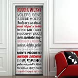 Adesivi per Porte in PVC Premium, Door Cover Regole della Casa, Applicazione Facile e Senza Bolle, Rivestimenti per Porte da Interno 83 x 210 Rifilabili