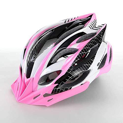 ILKJ Mujer Montaña Casco Bicicleta Rosa y Blanco, Adulto Carretera Ciclismo Casco...