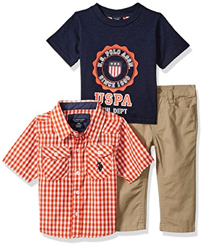 U.S. Polo Assn. Baby Boys' Sport Shirt, Creeper and Pant Set, 0648-Multi Plaid, 18M