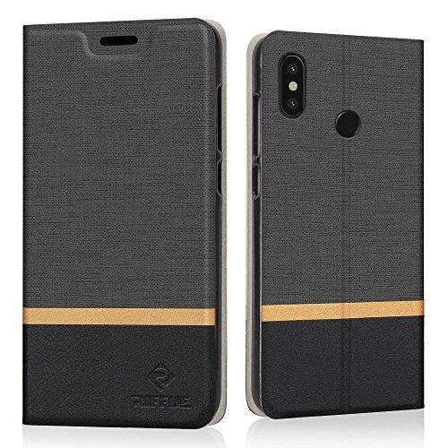 RIFFUE Xiaomi Mi8 Custodia, Cover Xiaomi Mi 8, Copertura Protettiva Sottile del Modello Retrò in Denim a Portafoglio Liscio in...
