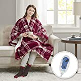Comfort Spaces Plush to Sherpa Electric Blanket Shoulder and Neck Wrap with Matched Sock Set Ultra Soft and Warm Hypoallergenic Fleece-Reversible Heated Poncho Throw, 50' W x 64' L, red Plaid