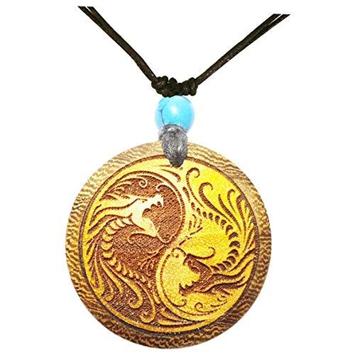 Chic-Net Damen Herren Holzkette mit Türkis Stein Baumwolle Holz Anhänger in rund mit Fische oder Drachen Yin Yang Motiv Drachen