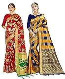 Paquete de 2 sari para mujer Banarasi Art Silk Woven Gift Sari | Sari de boda india y blusa sin costuras