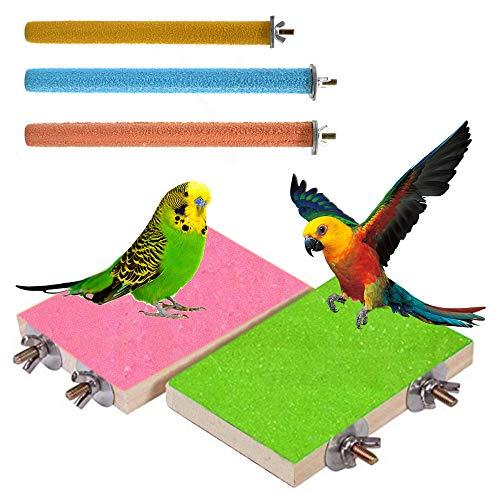 Bestine Vogelständer Barsch, 5er Pack Bunte Papageienständer Plattform Naturholz Sittich Pfote Schleifen Übungsspielplatz für Nymphensittich Wellensittiche Sittich Hamster Ratte Maus (Pink+Green)
