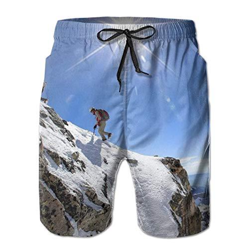 OMNHGFUG Pantalones cortos de playa para hombre, de montañismo, ajuste casual, con cordón, pantalones cortos elásticos de verano con bolsillos