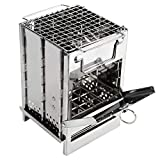 REDCAMP Wood Burning Camp Stove Folding Stainless Steel 304# Grill, Small Portable Backpacking Stove...