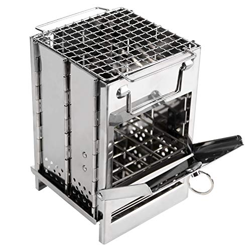REDCAMP Wood Burning Camp Stove Folding Stainless Steel 304# Grill