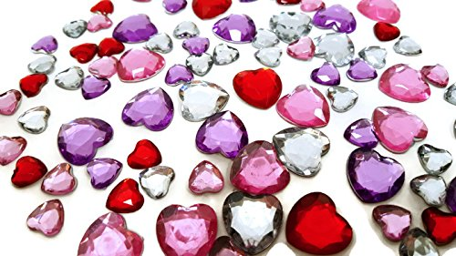Playscene Craft Jewels With Self Adhesive Back, Hearts Theme - 100 Gram Set (Multicolored Hearts)