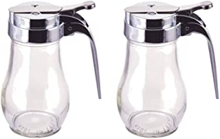 Great Credentials 14 Oz. (Ounce) Glass Bulb Jar Syrup Dispenser, Sugar Dispenser, Retracting Spout, Dispensing Thumb-Lever, Pancake House Style set of 2