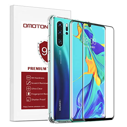 OMOTON 3D Curved Edge to Edge Full Coverage Tempered Glass Screen Guard and Back Case Combo for HUAWEI P30 Pro