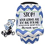 Car Seat Cover for Babies, Stretchy Infant Carseat Canopy Nursing Breastfeeding Cover with No Touching Sign, Multi Use for Stroller/Shopping Cart/High Chair, Baby Shower Gifts for Newborn Boys Girls