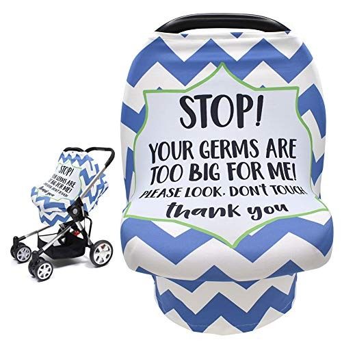 Car Seat Cover for Babies, Stretchy Infant Carseat Canopy Nursing Breastfeeding Cover with No Touching Sign, Multi Use for Carrier/Stroller/Shopping Cart/High Chair, Newborn Shower Gift for Boy Girl
