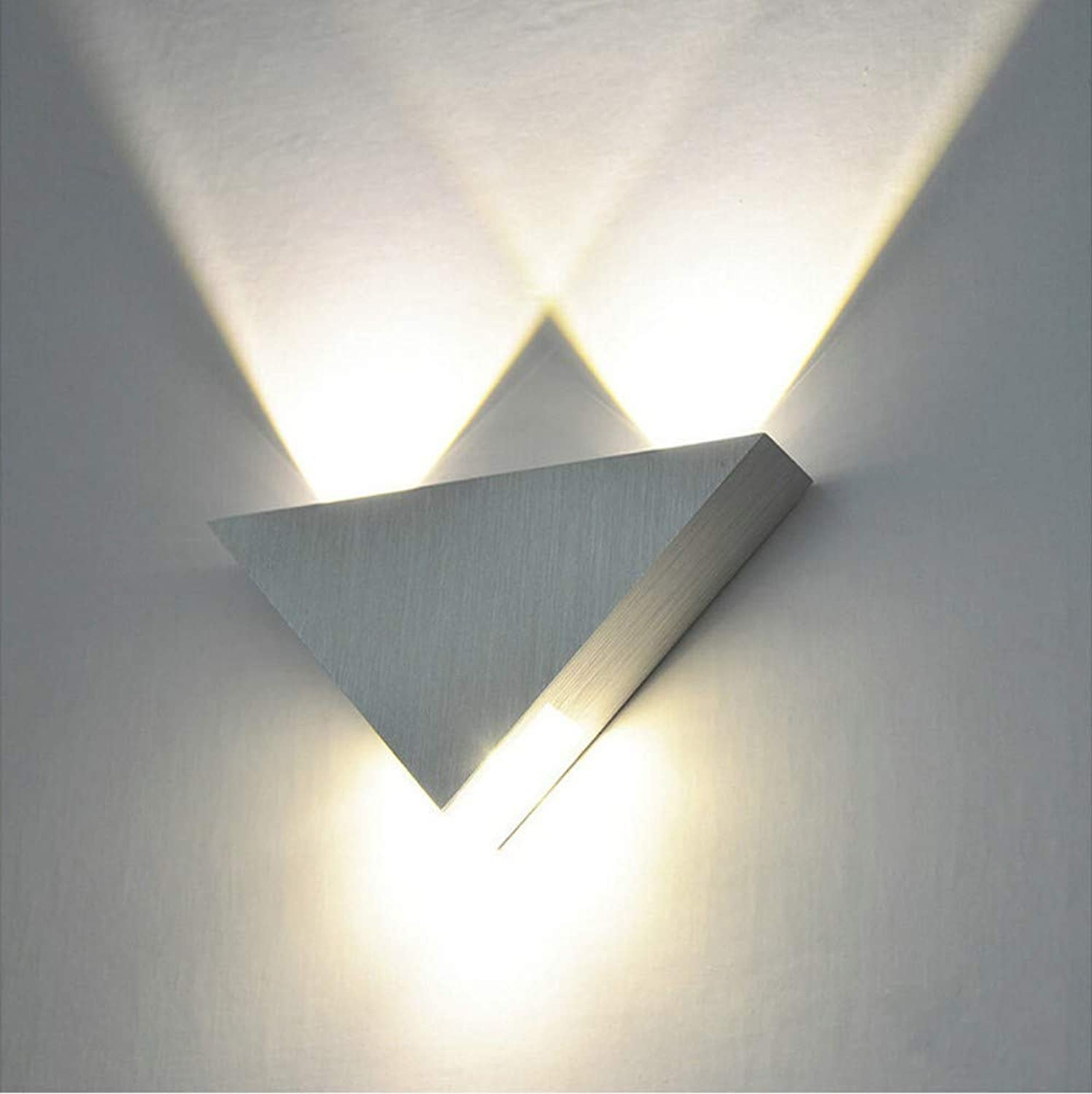 Modern 3W Triangle LED Wall Sconce Light Fixture Indoor Hallway Up Down Wall Lamp Spot Light Aluminum Decorative Lighting,Silber,3W,warm Weiß
