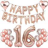 Feelairy 16 Compleanno Decorazione Oro Rosa Set 16° Compleanno Festa Decorazioni, Numero 16 Palloncini Foil Giganti, Happy Birthday Palloncini Ghirlanda, 16 Anni Compleanno per Ragazze Ragazzi