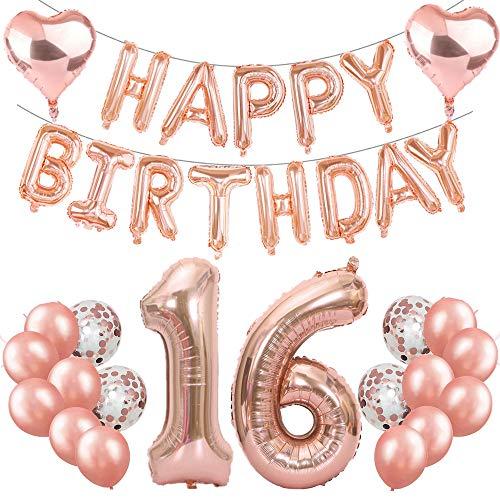 Feelairy 16 Cumpleaños Globos Decoración Oro Rosa, Happy Birthday Banner Globo Carta, Globos de Papel Aluminio Gigante Número 16 y Corazón Globos,16 Años Fiesta de Cumpleaños para Niñas y Niños