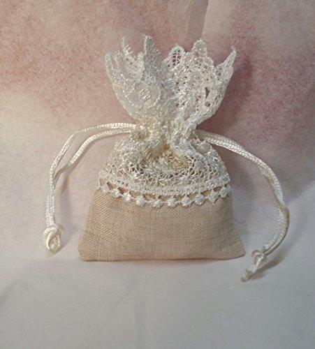 12 Pièces Sachet tissu beige avec dentelle pour mariage Taille 7 cm H. 10,5 cm c1509
