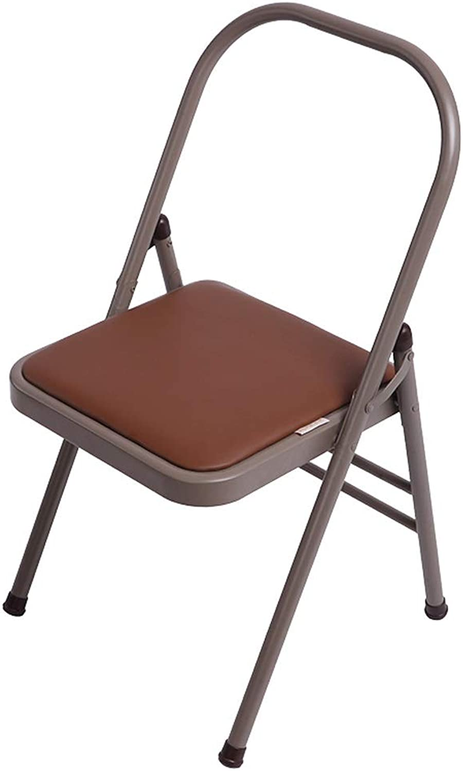 22mm Steel Pipe Yoga Chair Auxiliary Tool, Faux Leather Brown Folding Yoga Chair, Foldable Yoga Backless Standard Prop Practice Asana Activity (Size   A)