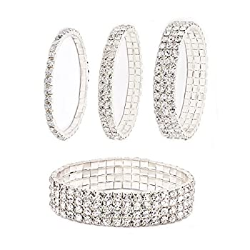 Daycindy Multi Row Crystal Bracelet for Women Pack of 4