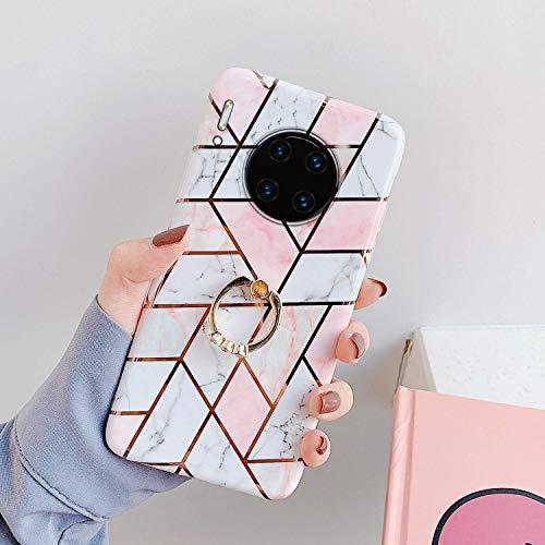 Saceebe Compatible avec Huawei Mate 30 Pro Coque Silicone Motif Géométrique Marbre Housse Etui avec Anneau Support Bague Glitter Paillette Brillant Strass Ultra Fine Fille Case,Rose Blanc