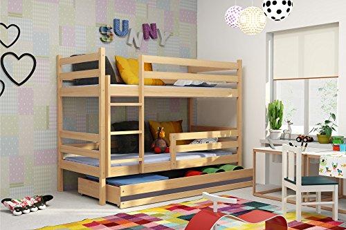 Interbeds Etagenbett Eryk 160x80cm aus Kiefernholz; mit Matratzen und Lattenroste (Kiefer + graue Schublade)