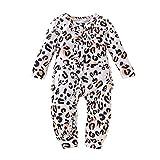 K-Youth Mameluco Bebe Niña Bautizo Fiesta Kawaii Leopardo Mono Bebe Invierno Ropa Bebe Recien Nacido Niña Bodies Bebe Body Bebé Niño Pelele Bebe Niñas Pijama Unisex Infantil, 0-3 Meses