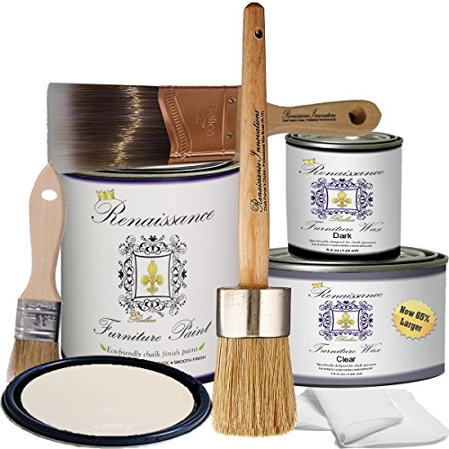 Chalk Finish Paint - Deluxe Kit - Furniture Paint, Cabinet Paint, Interior Paint, House Paint, Wall Paint - Non Toxic, Eco-Friendly, Superior Coverage - Ivory Tower (DKit)