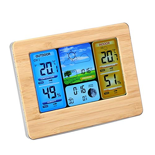 Mumusuki LCD Digital Wireless Weather Station Clock Thermometer Indoor & Outdoor Humidity Calendar Forecast Station Meters(Yellow)