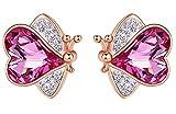 CHXISHOP Pendientes de tuerca para mujer con diamantes y mariposa, diseño de personalidad creativa y salvaje, color morado