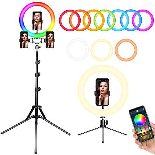 FOSITAN 12 Zoll RGB Ringleuchte Ringlicht mit Stativ und Desktop Ständer, APP Steuerung, 3 Farben, Mehrere RGB Modi, 3 Telefonhalter Dimmbare...