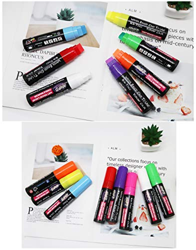 MMFB 15mm Giant Jumbo Liquid Chalk Markers (8 Pens 3XL) w/ 45 Chalkboard Labels, Window Markers, Wet Erase For Nonporous Surfaces, 29g Ink, Extra Wide Reversible 3 In 1 Sturdy Tips Nibs