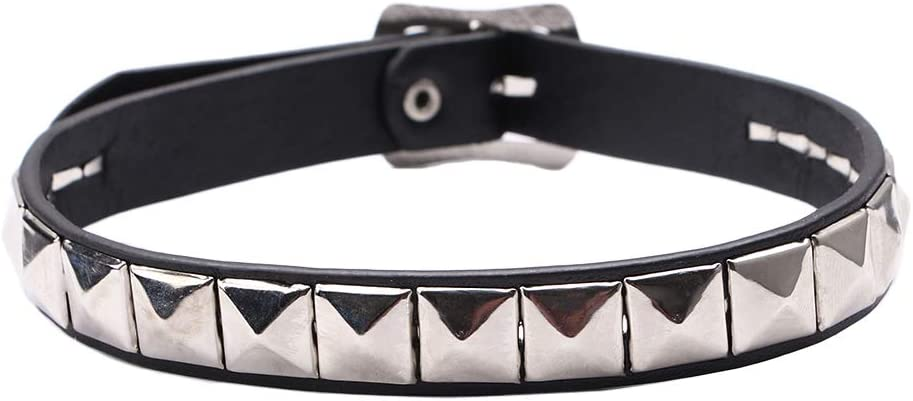 ZEXIN New Leather Heart Spike Rivet for Gift Buckle Punk Choker Chain Collar Necklace(5)
