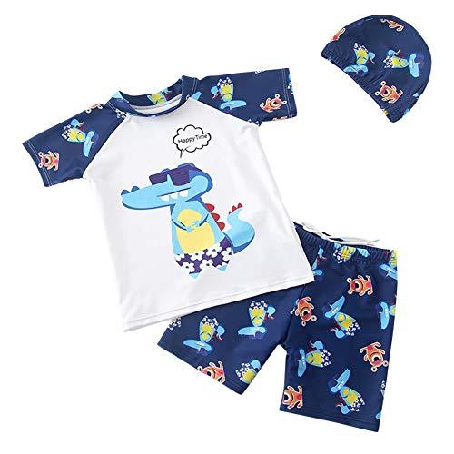 Sxgyubt 3-teiliges Set für Kinder, Jungen, Cartoon-Druck, Badeanzug, Tops, Shorts, Hut zum Schwimmen, Sonnenbrille Krokodil, Large