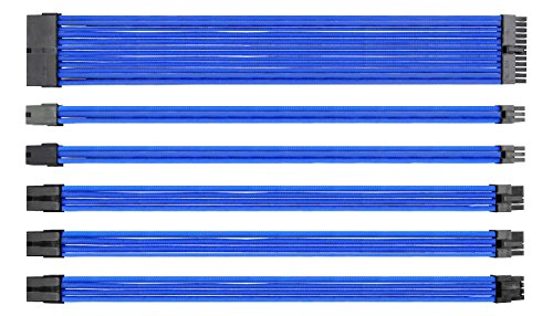 EZDIY-FAB Sleeved Cable - Prolongación de Cable para Fuente de alimentación con 24 Pines 8 Pines 6 Pines 4+4 Pines con Combs- Azul