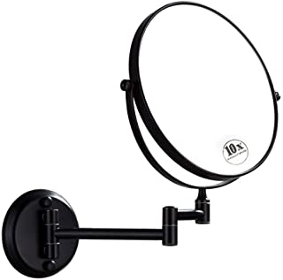 Wall-Mounted Shaving Mirror Black 10X Magnification + Normal 8-Inch Double-Sided Round Bathroom Vanity Mirror Swivel, Extendable