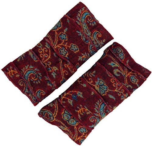 Guru-Shop Patchwork Handstulpen, Ethno Goa Armstulpen, Herren/Damen, Bordeaux, Synthetisch, Size:One Size, Handstulpen Alternative Bekleidung