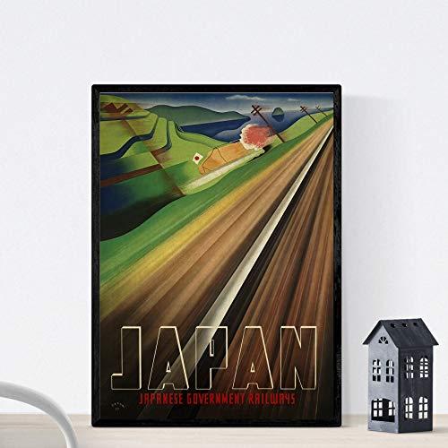 Nacnic Poster Vintage. Cartel Vintage de Asia. Tren de Japón. Tamaño A3