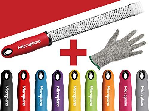 Microplane Premium Classic Zester Reibe fein schwarz rot gelb blau lila pink + Prymo Schutzhandschuh Farbe Rot