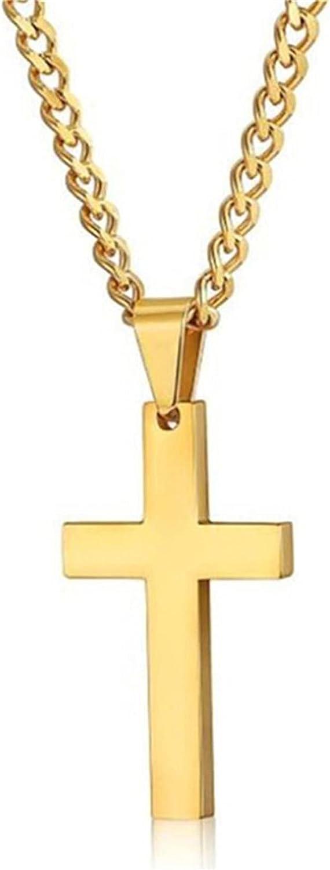 Botreelife Unisex Cross Pendant Necklace Simple Design Polished Cross Pendant Necklace Gift