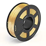 TECBEARS Shiny Silk PLA+ Filament 1.75mm 3D Printer Filament, 1 Kg(2.2lbs) Spool No-Tangle 3D Printing Filament +/- 0.02 mm Tolerance, Gold