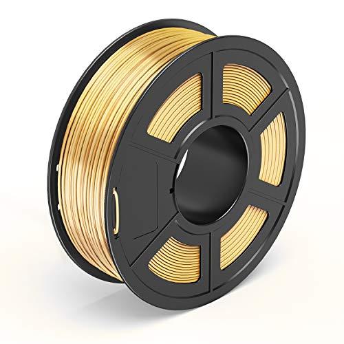 TECBEARS PLA Filamento de Impresión 3D, 1.75mm Seda Dorado, Precisión Dimensional +/- 0.02 mm, 1kg Carrete, 1 Paquete