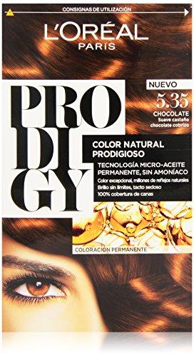 L'Oréal Prodigy Coloración Sin Amoniaco, Tono: 5.35 Chocolate suave castaño cobrizo