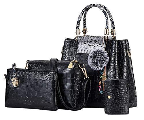 FiveloveTwo Mode Damen 4Pcs Handtasche Krokodil-Muster Umhängetasche Nähen Henkeltaschen Shopper Taschen Schultertasche Clutches Kartenhalter mit Pompom Ornamenten Black